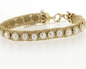 14K Gold Chain-link Bracelet with Pearls