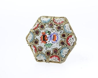 1930s Hexagon Mosaic Glass Brooch Made in Italy