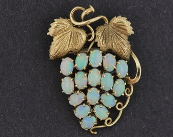 14K Grape Vine Brooch with Opals Chased, Repoussed, and Hand Engraved