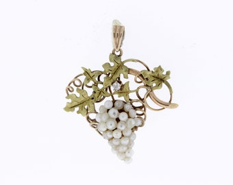10K Grape vine Pendant with Pearls and Diamond Accents
