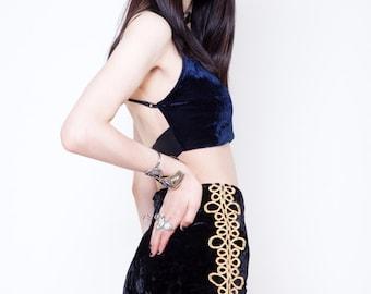 Gold Matador Black Velvet Shorts
