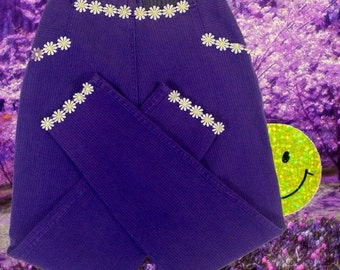 vintage neon purple tight high waisted corduroy gitano EXPRESS ankle pants with 90s seapunk club kid daisy trim