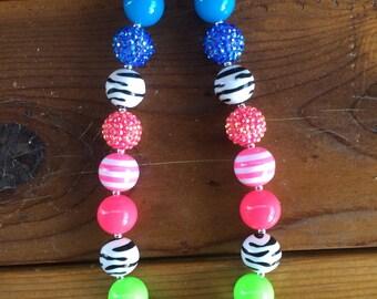 Neon Zebra Chunky Necklace