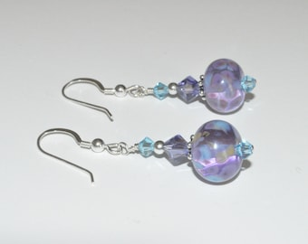 Beaded Lampwork Earrings, Lampwork Earrings, Glass Bead Earrings, Lampwork Jewelry, Crystal Earrings, Purple Earrings, Glass Bead Jewelry
