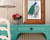 Peacock on Chair - peacock print peacock Illustration peacock decor bird picture bedroom art print gift for her mothers day book page art