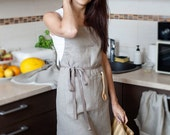 Natural linen APRON natural grey - Traditional Linen Apron With Two Pockets - eco-friendly gift