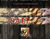 INSTANT DOWNLOAD -  Etsy Shop American Flag Banners and Matching Avatar - Graphic Design Service - Digital Files - Eagle - USA Country