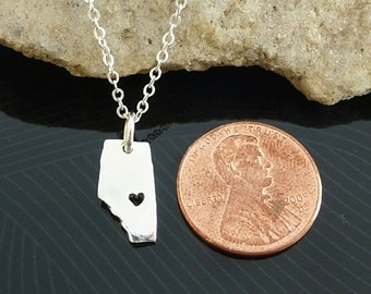Tiny Sterling Silver Alberta Necklace / Custom Heart / Small Alberta Necklace / Love Alberta  / Province Necklace / Alberta Wedding