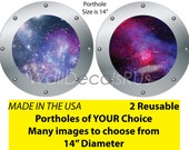 Outer Space Wall Decals, Porthole Windows, Space Decals,  Outer Space Stickers,  Stars Wall Decor, Space Wall Murals, S7S10