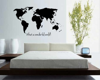 World map outline decal large world map wall decal wall large world map with quote what a wonderful world wall decal wall art gumiabroncs