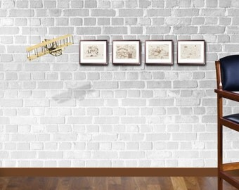 "LIQUIDATION SALE! 5.25"" x 7"" Art Print Quartet, featuring the Wright Brothers & the world-famous annual fly-in held in Oshkosh"