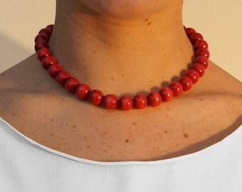 Red Wooden Bead Choker   Red Choker