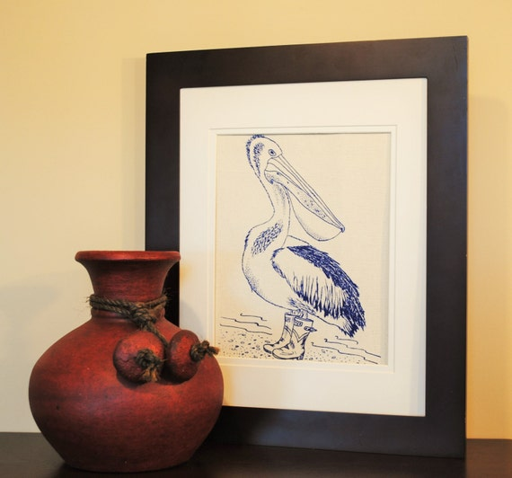 Nautical Kitchen Wall Decor : Nautical kitchen wall decor pelican art by heapshandworks
