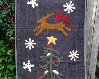Primitive Folky Wool Christmas/Winter Quilt Pattern