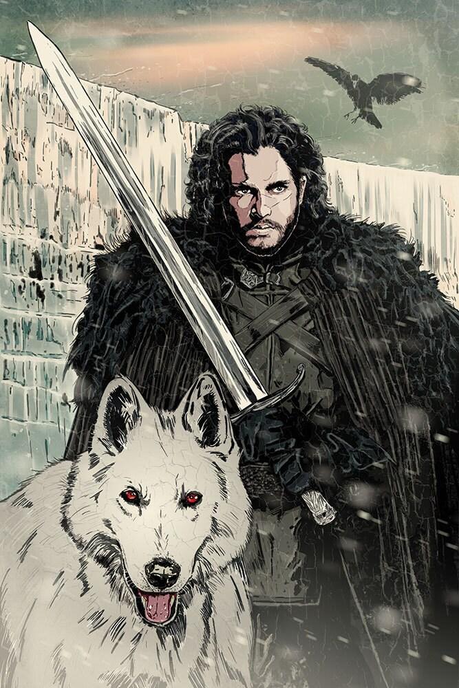 Game Of Thrones Jon Snow Original Art Print Signed By Artist