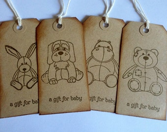 8 large Handmade stamped vintage shabby chic  Baby Gift tags for presents, baby showers, christenings!