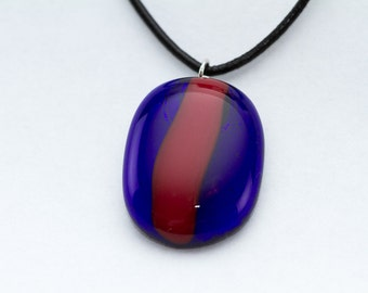 Blue and Red Fused Glass Pendant