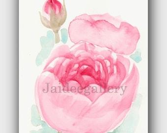 Watercolor flower art, Original watercolor art, Floral rose painting,Art painting on paper.4x6 in