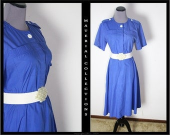 Vintage shirtwaist dress OBJECTIVES • 80s does 50s • pinup • retro • rockabilly • preppy • industrial • old hollywood •  blue day dress
