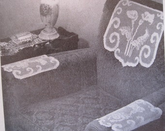 Crochet Pattern - Calla Lily Chair Set - In Shadow Filet Crochet - Vintage 1950's