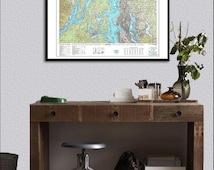 Seattle Map, Map of Seattle, Topo Map, Pacific North West Map, Seattle, Seattle Art