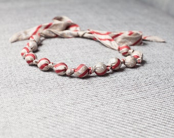 Silk fabric beaded necklace (12)