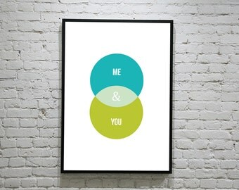 Me & You ampersand love venn diagram art print, names poster, valentines gift engagement anniversary, couple, boyfriend, girlfriend, present
