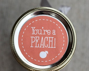 Printable peach jam jar label | gift tag | Peach canning mason jar label