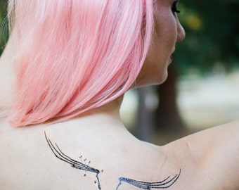Bat Wing Skeleton Halloween Temporary Tattoo