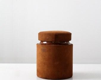 vintage English cigar humidor,  suede and ceramic tobacco jar