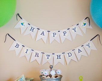 Whale Birthday Party Banner-Preppy Whale Birthday Party Banner- Whale Theme Birthday Banner- Blue Happy Birthday Banner