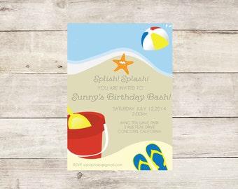 Beach Birthday Party Theme Invitation-Beach Party Invitation- Beach Ball Party Invite- Boy's Birthday Party- Summer Birthday Party Theme