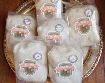 Organic Cotton Candy, Six Flavor Sampler: Lavender, Apple Pie, Double Mint, Vanilla, Rose, and Orange