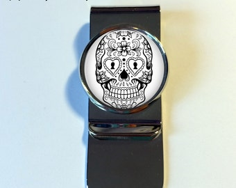 MONEY CLIP - Sugar Skull Money Clip - Skull Money Clip - money clip - Men's Gift - Gift for Boyfriend - Gift for Husband - Day of the Dead