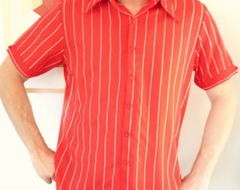 Vintage Mens Collared Shirt - Very Retro - Red striped