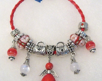 303 - Red and White Angel Bracelet