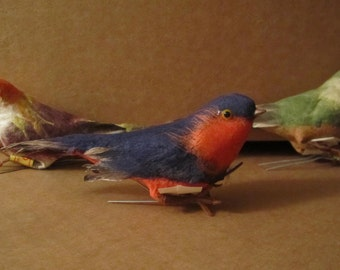 REDUCED /// New store stock, 4 inch large feathered birds, 6 pieces