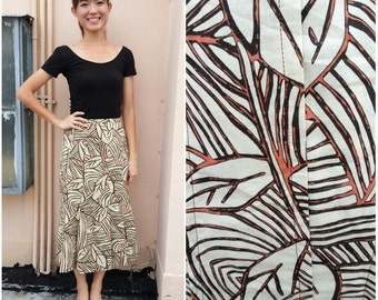 CLEARANCE SALE/ Vintage Skirt/ Abstract Leaves Skirt/ Small Skirt/ Medium Skirt/ Japanese Vintage/ Flounce Skirt/ Brown Skirt/ Sunday Skirt