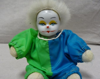 Porcelain Face Aqua & Green Clown - E0029