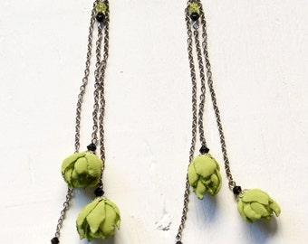 Green Flower Earrings, Textile Earrings, Long Earrings, Eco-friendly Earrings