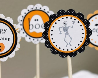 Halloween Cupcake Toppers Printables - Instant Download