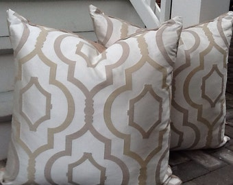 Luminous Tan and White Pillow cover