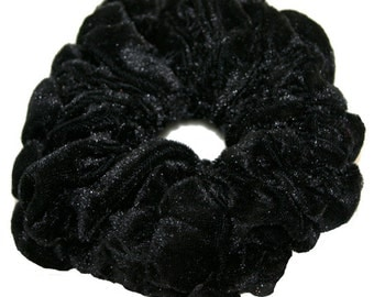 Extra Large Velvet/Velour Scrunchie, Black Extra Velvet Ponytail Holder, Hand Ruffled Velvet Scrunchi