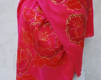 Red silk scarf, silk scarf, hand painted silk scarf, gold flowers, red and gold, floral scarf, Christmas gift, Gifts for her