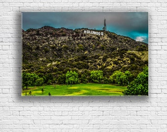 Hollywood Sign Canvas | Hollywood in the Rain | Los Angeles CA | Griffith Park | Gallery Wrap