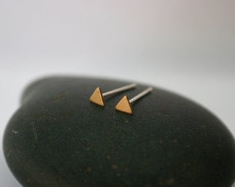 Tiny Raw Brass Triangle Post Earrings (4mm x 4mm)