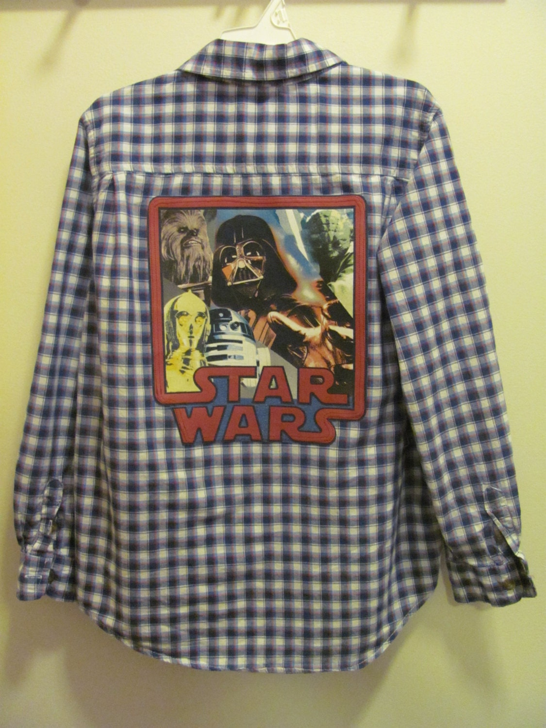 Upcycled plaid dress shirt with star wars graphic on back for Shirts with graphics on the back