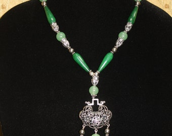 Happy Blossoms - Empress Jade Pendant Statement Necklace