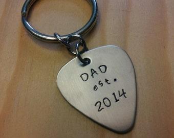 Hand Stamped Dad Keychain Guitar Pick Dad Est. & Date Keychain - Father or Grandpa Keychain