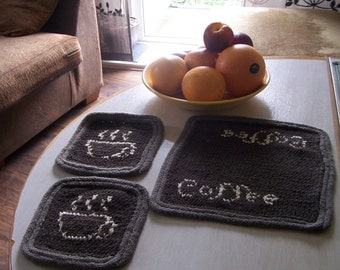 Table Mat and Two Coasters Set for Coffee Pot and Cups Knitted Wool Blend